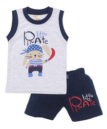 Olio Kids Sleeveless T-Shirt And Shorts Pirate Print - Grey Navy Blue