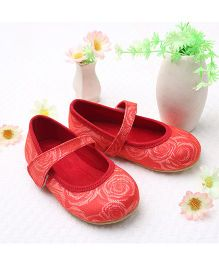 LCL By Walkinlifestyle Mary Jane Shoes Floral Design - Red