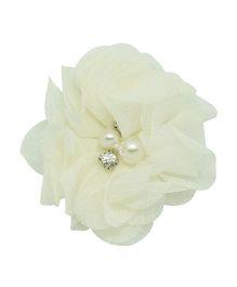 Angel Closet Chiffon Flower Hair Clip - Ivory