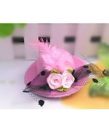 Angel Closet Girls Small Hat Clip With Flowers And Feather - Pink