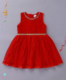 Babyhug Sleeveless Party Wear Frock Bead Detailing - Red