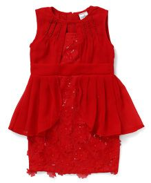 Babyhug Sleeveless Party Wear Frock Floral Motifs - Red