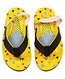 Kidofy Soft Elasticated Printed Flip Flops - Yellow