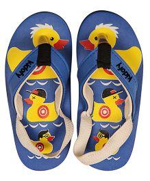 Kidofy Soft Elasticated Duck Printed Flip Flops - Blue & Black