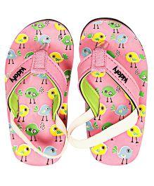 Kidofy Mini Bird Printed Flip Flops - Pink