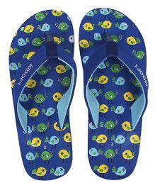 Kidofy Bird Printed Flip Flops - Blue