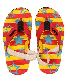 Kidofy Stripe With Stars Printed Slippers - Yellow & Red