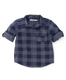Fox Baby Checks Shirt - Dark Navy Blue