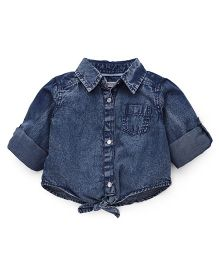 Fox Baby Solid Shirt Front Tie Knot - Denim Blue