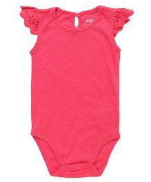 Fox Baby Flutter Sleeves Onesie - Pink