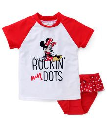 Fox Baby 2 Piece Swimsuit Minnie Print - White & Red