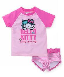 Fox Baby 2 Piece Swimsuit Hello Kitty Print - Pink