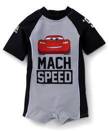Fox Baby Half Sleeves Legged Swimsuit Lightening McQueen Print - Grey Black