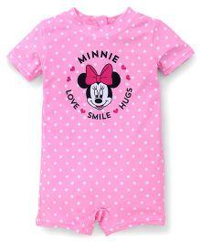 Fox Baby Half Sleeves Legged Swimsuit Minnie Print - Pink