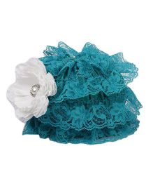 Pikaboo Ruffle Cap With Floral Applique - Teal