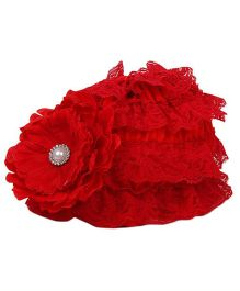 Pikaboo Ruffle Cap With Floral Applique - Red