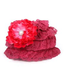 Pikaboo Ruffle Cap With Floral Applique - Wine