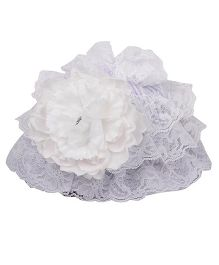 Pikaboo Ruffle Cap With Floral Applique - White