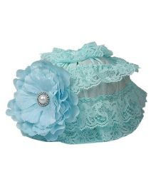 Pikaboo Ruffle Cap With Floral Applique - Turquoise