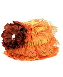 Pikaboo Ruffle Cap With Floral Applique - Orange