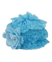 Pikaboo Ruffle Cap With Floral Applique - Blue