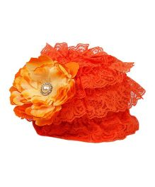 Pikaboo Ruffle Cap With Floral Applique - Deep Orange
