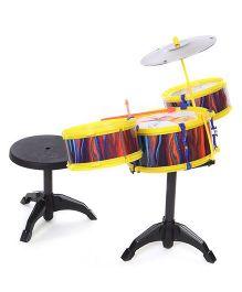 Lovely Drum Set Cartoon Print - Yellow Multicolor