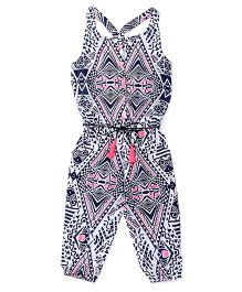 Vitamins Singlet Printed Jumpsuit - Navy Blue