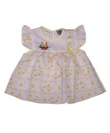 Pikaboo Flutter Sleeves Frock Duck Print - White Yellow