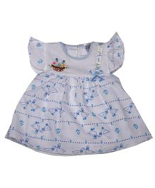 Pikaboo Flutter Sleeves Frock Duck Print - White Blue