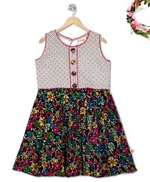 Budding Bees Floral Printed Gathered Dress - Multicolour