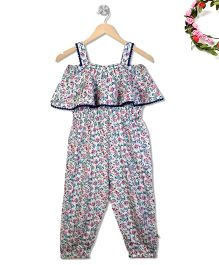 Budding Bees Floral Printed Frill Bodice Jumpsuit - Multicolor