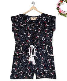 Budding Bees Mini Floral Printed Jumpsuit - Black