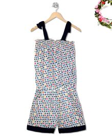 Budding Bees Mini Bird Printed Jumpsuit With Contrast Hem - Multicolour