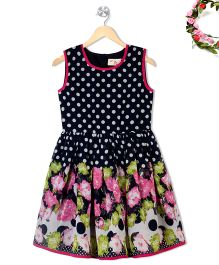Budding Bees Sleeveless Dotted Frock Floral Print - Multicolor