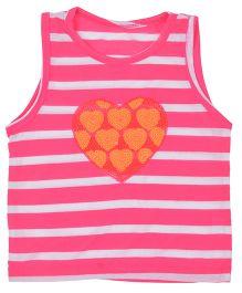 Kuddle Kids Heart Print Stripe Top - Dark Pink