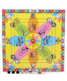 Lovely Five In One Print Carrom Board - Multicolor