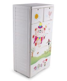 Baby 5 Compartment Storage Unit Animal Print - White