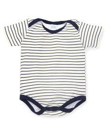 Babyhug Half Sleeves Onesie Stripe Print - Navy Blue Green