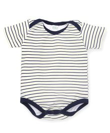 Babyhug Half Sleeves Onesie Stripe Print - Navy Blue Green