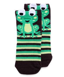 Mustang Socks Froggy Design - Dark Brown Green
