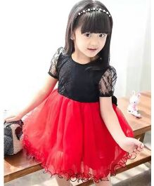 Tickles 4 U Lace Puff Sleeves Frock - Red & Black