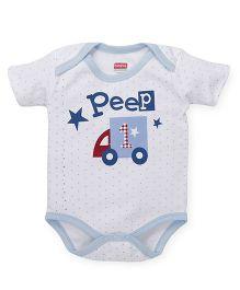 Babyhug Half Sleeves Dotted Onesie Car Print - White Blue