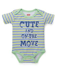Babyhug Half Sleeves Stripe Onesie Text Print - Light Green Blue