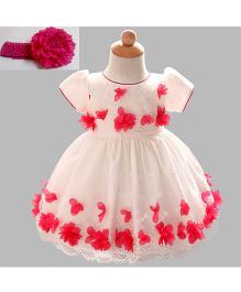 Funky Baby Princess Party Wear Dress With Lace & Petals & Headband - White