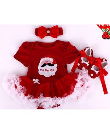 Funky Baby Petti Romper Headband And Booties Combo - Red