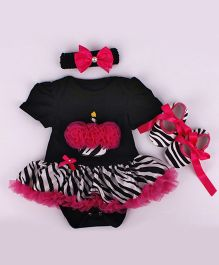 Funky Baby Petti Romper Headband And Booties Combo - Black