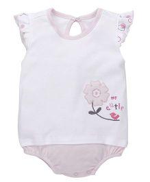 Babyhug Short Sleeves Onesie Flower Embroidery - White Pink