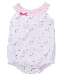Babyhug Sleeveless Onesie Floral Print - White Pink