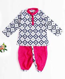 Bownbee Kurta Dhoti In Sanganeri Print - Pink